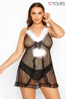 Yours Curve Fluffy Spot Mesh Babydoll