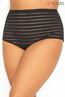 Yours Curve Mesh Sheer Stripe High Waisted Briefs
