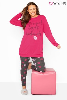 Yours Curve 'This Girl Loves Weekends' Pyjama Set