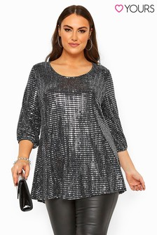 Yours Curve Sparkle Embellished Balloon Sleeve Swing Top