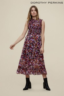 Dorothy Perkins Floral Lurex Sheered Body Sleevless Dress