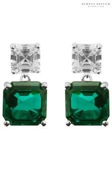 Simply Silver Cubic Zirconia Emerald Asscher Cut Drop Earrings