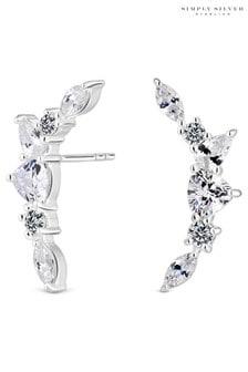 Simply Silver Cubic Zirconia Stone Ear Climber Earrings