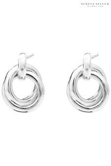 Simply Silver Double Open Stud Drop Earrings