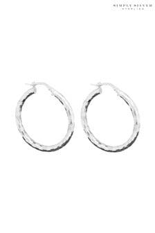 Simply Silver Polished Diamond Cut Hoop Earrings