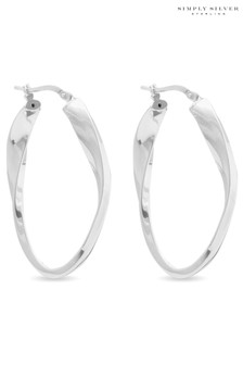 Simply Silver Polished Oval Twist Hoop Earrings
