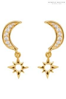 Simply Silver 12Ct Gold Cubic Zirconia Moon  Stars Drop Earrings