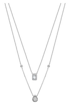 Simply Silver Silver 925 Cubic Zirconia Emerald and Pear Cut Halo Double Row Necklace
