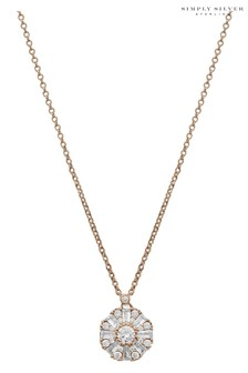 Simply Silver Silver 925 Cubic Zirconia and Pear Cut Halo Double Row Necklace