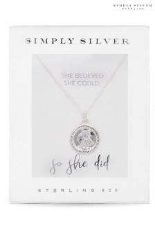 Simply Silver Polished St Christopher Pendant Necklace in a Gift Box