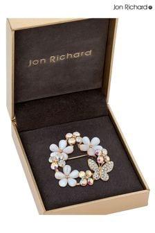 Jon Richard Flower And Butterfly Wreath Brooch in a Gift Box
