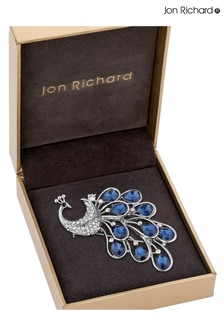 Jon Richard Blue Peacock Brooch in a Gift Box