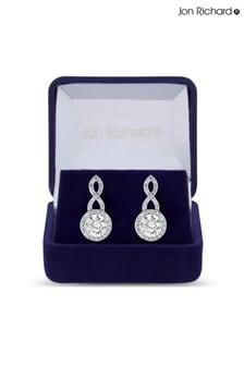 Jon Richard Cubic Zirconia Halo Infinity Crystal Drop Earrings in a Gift Box