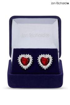 Jon Richard Silver Cubic Zirconia Heart Stud Earrings in a Gift Box