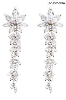 Jon Richard Floral And Baguette Cubic Zirconia Earrings