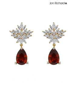 Jon Richard Gold Plated Red Peardrop Cubic Zirconia Floral Earrings