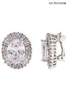 Jon Richard Statement Cubic Zirconia Crystal Stud Clip Earrings