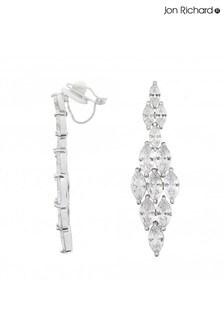 Jon Richard Multi Navette Cubic Zirconia Diamond Drop ClipOn Earrings