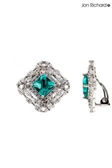 Jon Richard Cubic Zirconia Square Crystal Clipon Earrings