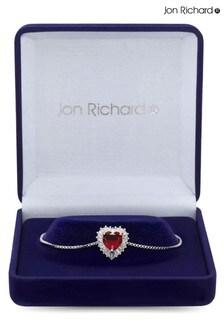 Jon Richard Silver Cubic Zirconia Heart Toggle Bracelet in a Gift Box