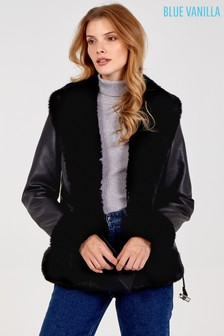 Blue Vanilla Faux Fur Trimmed Pu Jacket