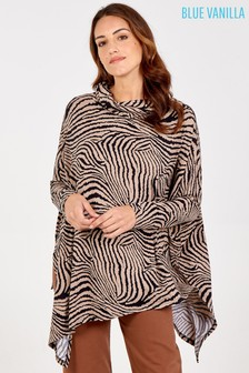 Blue Vanilla Abstract Zebra Oversized Cowl Neck Top