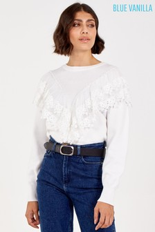 Blue Vanilla Mesh Lace Trim Front Jumper