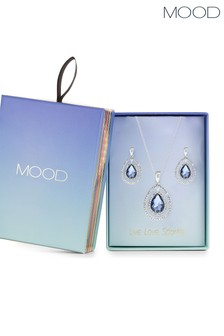 Mood Blue Teardrop Halo Necklace Set in a Gift Box