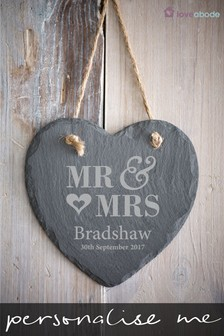 Personalised Mr and Mrs Hanging Slate Heart by Loveabode