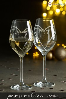 Personalised  Set of 2 Diamanté Wine Glasses by Loveabode