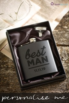 Personalised Best Man Hip Flask by Loveabode