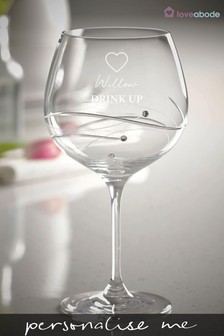 Personalised Drink Up Gin Glass by Loveabode