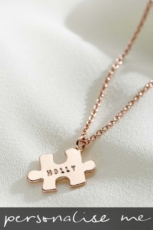Personalised Mini Jigsaw 18ct Rose Gold Plate Necklace by Posh Totty Designs