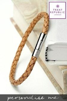 Personalised Tan Woven Bracelet by Treat Republic