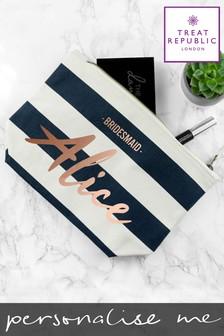 Personalised Stripe Bridesmaid Cosmetic Bag by Treat Republic