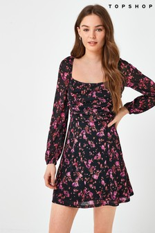 Topshop Ruched Tea Dress