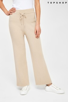 Topshop Knitted Soft Ribbed Wide Leg Trousers