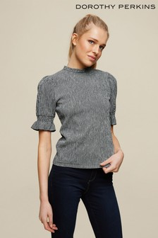 Dorothy Perkins Shirred Cuff Gingham Textured Top