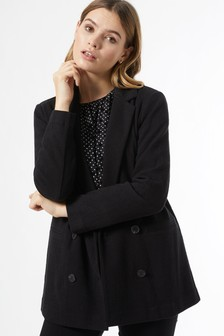 Dorothy Perkins Black Jersey Mock Double Breasted Blazer