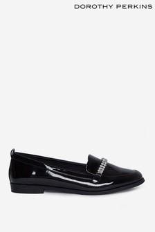 Dorothy Perkins Black Diamante Detail Loafers