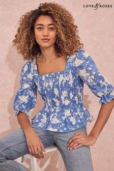 Love & Roses Floral Square Neck Shirred Top
