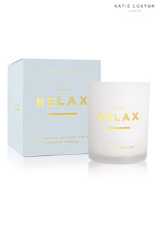 Katie Loxton Sentiment Candle | And Relax | White Orchid and Soft Cotton | 160g