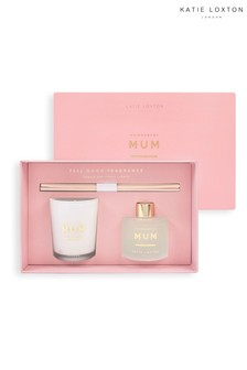 Katie Loxton Sentiment Mini Fragrance Set | Wonderful Mum | White Orchid and Soft Cotton | 62g Candle 50ml Diffuser