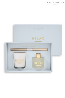 Katie Loxton Sentiment Mini Fragrance Set | And Relax | White Orchid and Soft Cotton | 62g Candle 50ml Diffuser