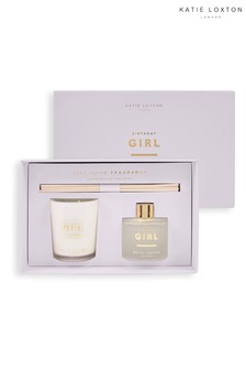 Katie Loxton Sentiment Mini Fragrance Set | Birthday Girl | Grapefruit and Pink Peony | 62g Candle 50ml Diffuser