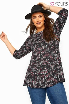 Yours Curve Floral Jersey Longline Top