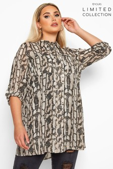 Yours Limited Collection Snake Print Eyelet Shirt