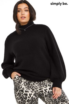 Simply Be Cosy High Neck Volume Sleeve Jumper