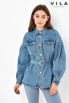 Vila Belted Denim Jacket