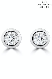 The Diamond Store 0.10ct Lab Diamond Rub Over Stud Earrings 4mm